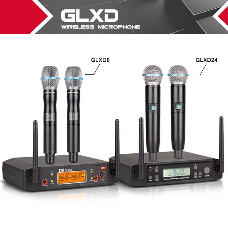 Wireless Microphone top quality  XTUGA GLXD24/GLXD8 Automatic Frequency/fixed Frequency Gemini karaoke mic bar party