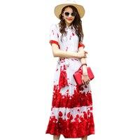 Top moda wspaniałe wzornictwo kobiety lato kwiatów drukowane suknie sweet street style szyfonowa długa dress slim śliczne vestidos kobiet