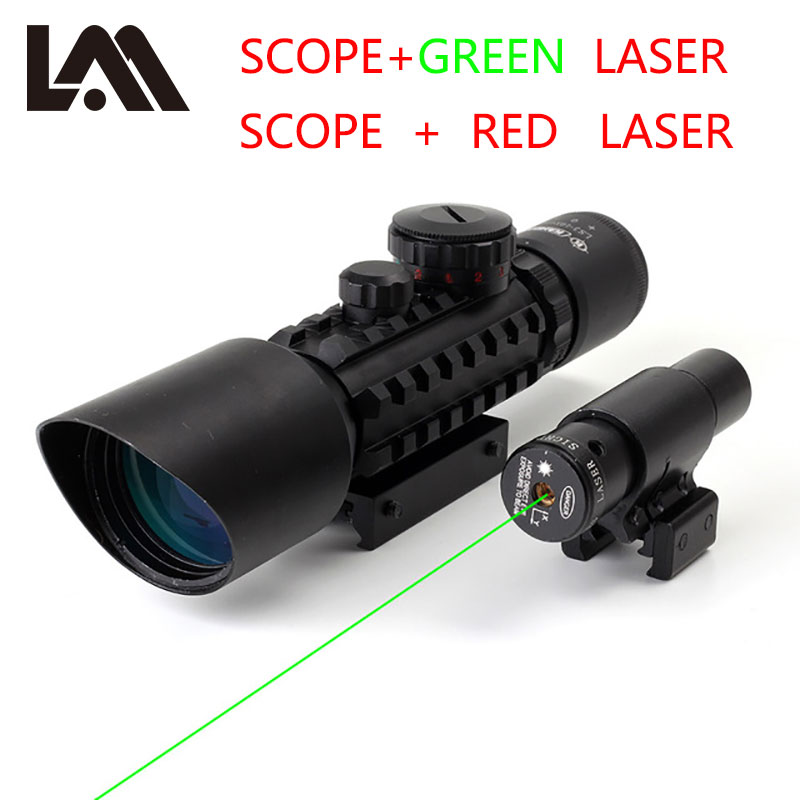 Lambul Hunting Airsofts Riflescope 3-10x42 Tactical Air Gun Red Green Dot Laser Sight Scope Hunting Optics Sight Scopes 3 10x42 red laser m9b tactical rifle scope red green mil dot reticle with side mounted red laser guaranteed 100%