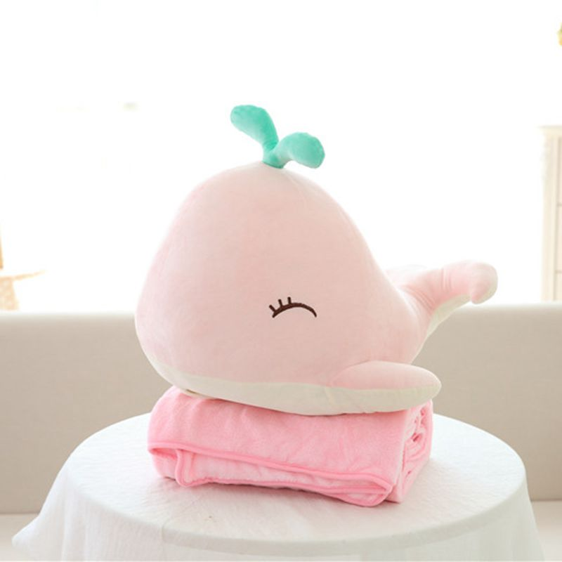 high quality soft whale stuffed plush toy + warm blanket cute whale plush doll birthday children day kids baby children gift stuffed animal 44 cm plush standing cow toy simulation dairy cattle doll great gift w501