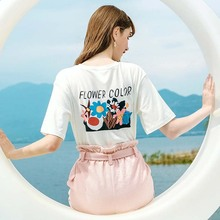 AcFirst Summer Women Tops Fashion White T-shirts Printed O Neck Short Cotton T Shirt Casual Shirts Female Sexy Tees
