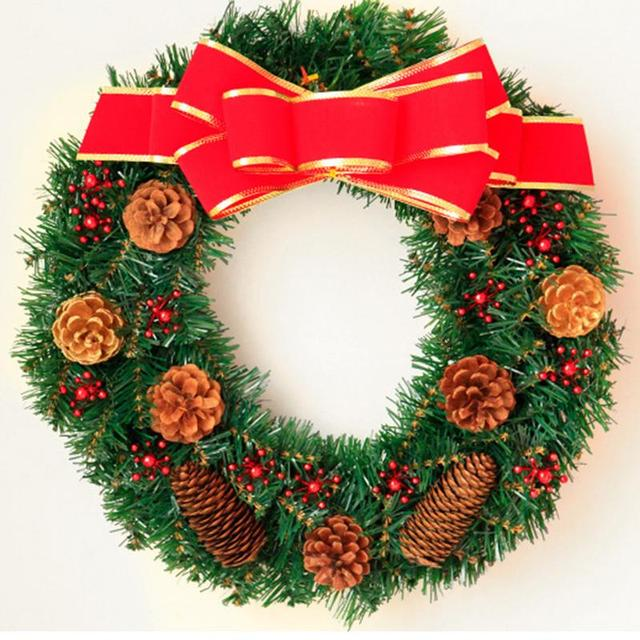 Us 12 97 41 Off 2018 New Christmas Wreath Green Leaf Cotton Pine Cones Garland Decorative Christmas Flower Ornaments Supplies Decor 30 40 50cm In