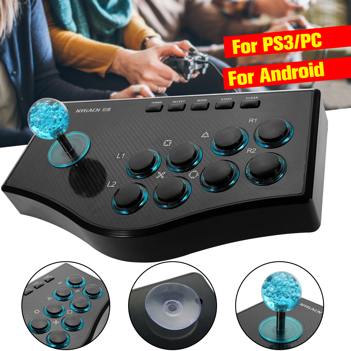 USB Rocker Game Controller Arcade Joystick Gamepad Harci Stick PS3 / PC-hez Android Plug and Play Utcai harci érzés