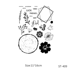 AZSG Leaves Flowers Annual Ring Clear Stamps/Seals For DIY Scrapbooking/Card Making/Album Decorative Silicone Stamp Crafts