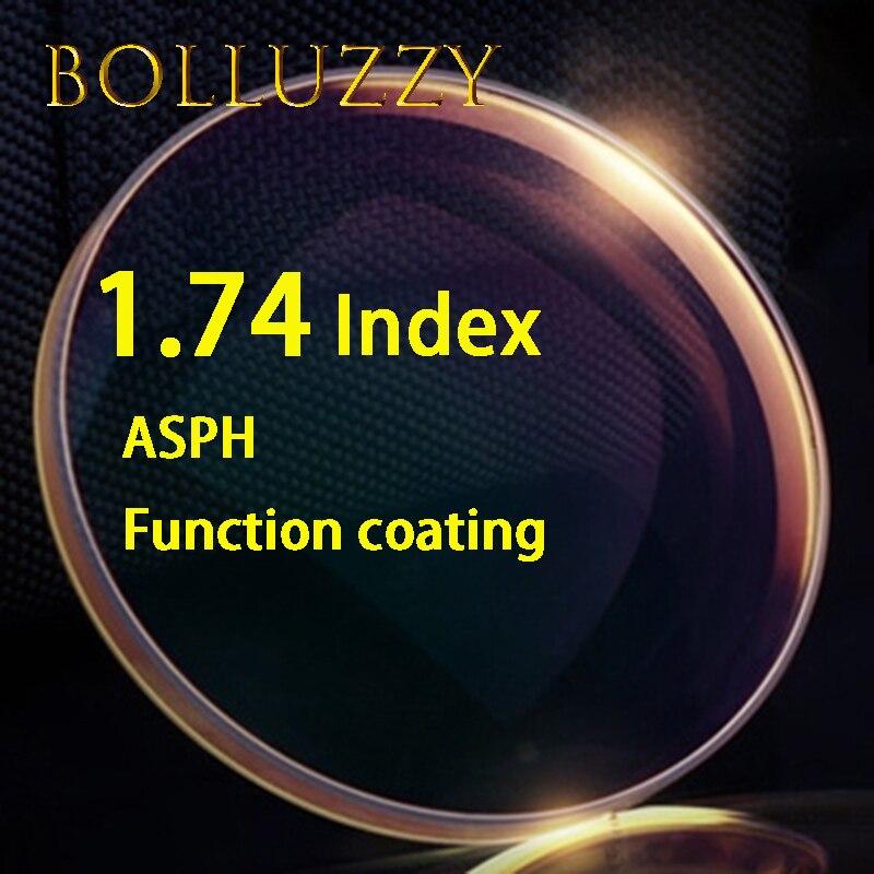 1.74 index HMC ASPH résine lentilles claires manteau vert haute qualité optique prescription lentilles claires lentille optique de surface asphérique