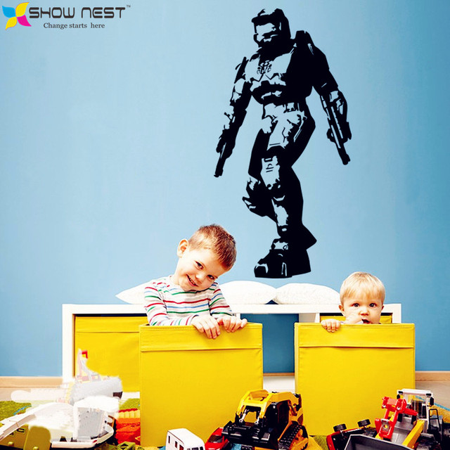 Gaming Halo Masterchief Wall Art Decal Mural Vinyl Sticker Bedroom Living Home Decor – Game Wallpaper – Kids Playroom Decor
