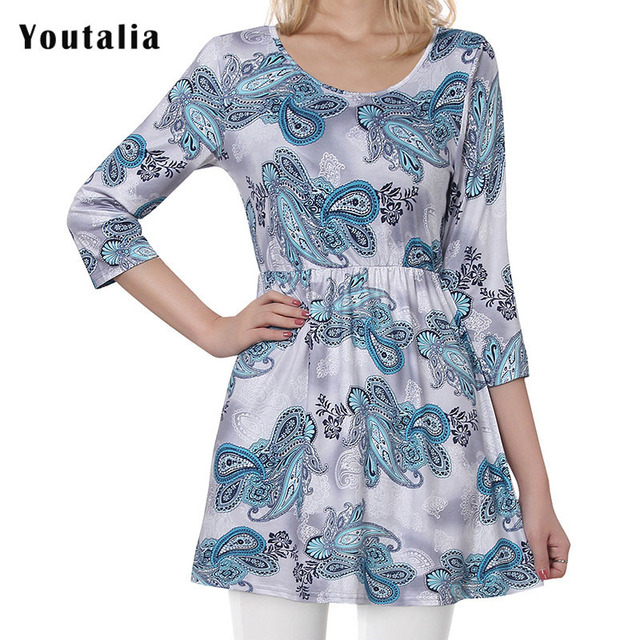 4e2d5d76 Youtalia 3/4 sleeve Floral Print Knitted T Shirt Women Tunic Slim Long Tee  Shirt Femme 2018 Casual High Waist Female T-shirt Top