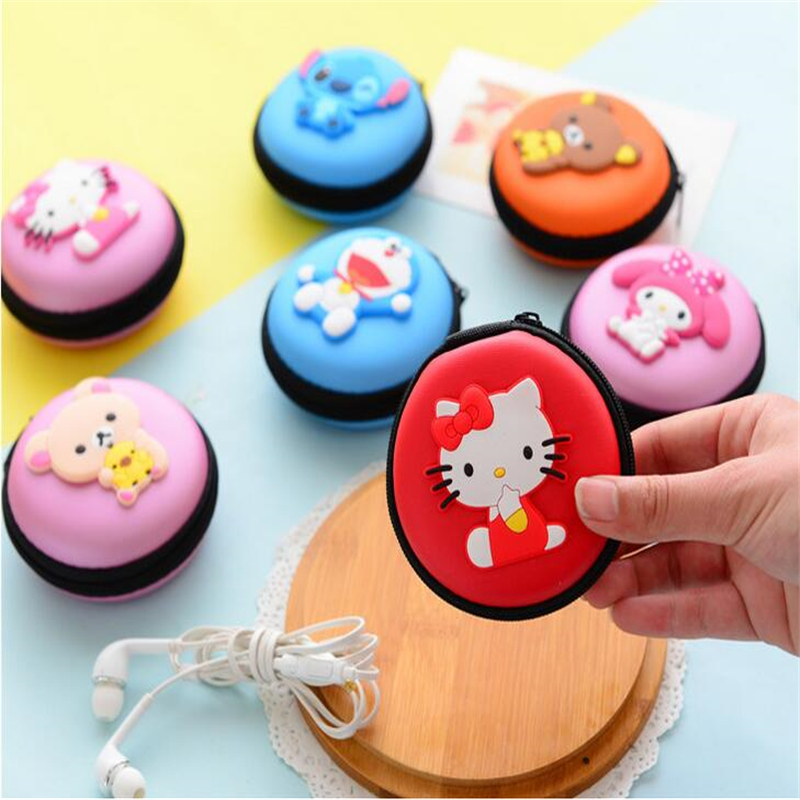 Mini Coin Bag Box Round Cartoon Cute Earphone Box Bag USB SD Card Earphones Line Headphone Container Storage Case Bag