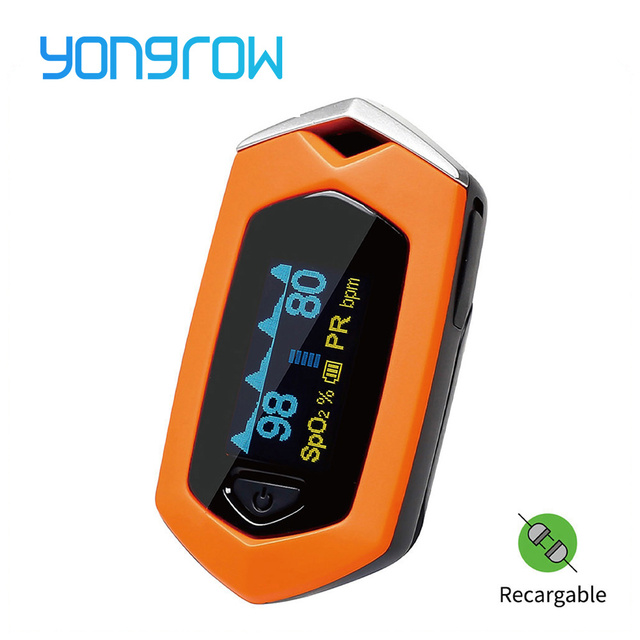 Yongrow Medical sport Finger Pulse Oximeter sport Portable oximeter Real-time data Blood Oxygen Saturation Rechargeable SPO2