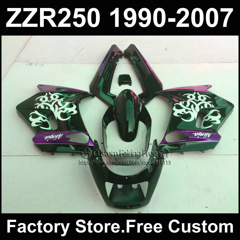 7gifts free ABS motorcycles fairings kit for Kawasaki ZZR-250 ZZR250 1990 1992 2007 ZZR 250 90-07 black purple body fairing kits