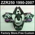 7gifts free ABS motorcycles fairings kit for Kawasaki ZZR-250 ZZR250 1990 1992 2007 ZZR 250 90-07 black purple body fairing kits