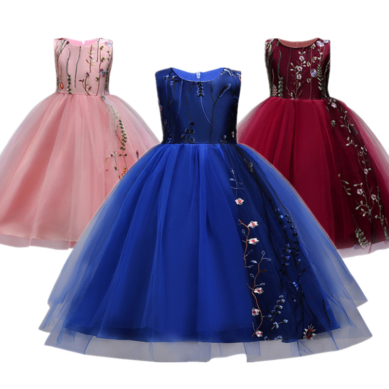 On sale! Flower Girls Dresses Baby Kids Child Bridesmaid Prom Gown Teenager Girl Clothes 4 5 6 7 8 9 10 12 Years Birthday Dress