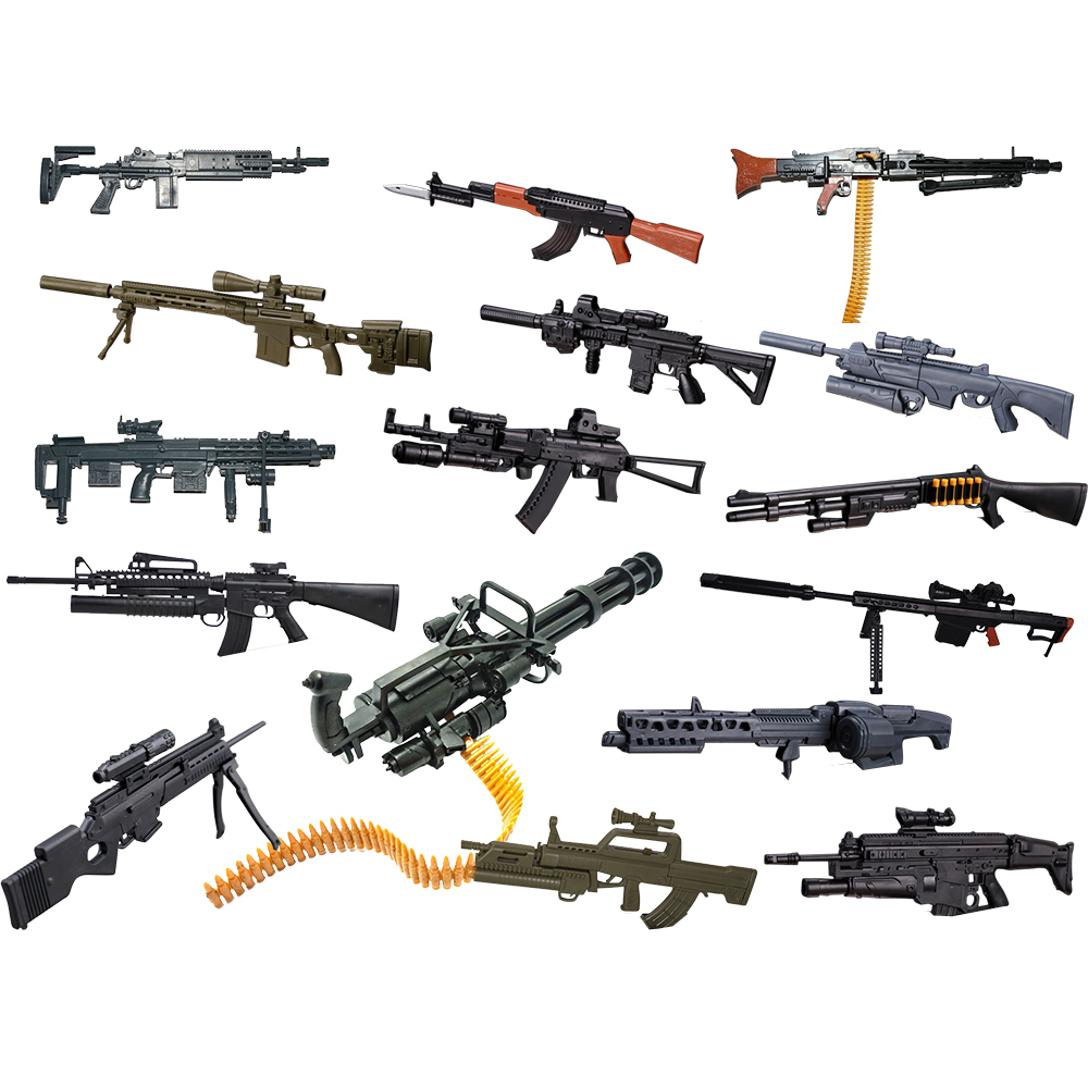 8 Pz / set 1: 6 Scala 1/6 Action Figures Remington Modular Sniper Rifle MG Bandai Gundam Modello Uso Hk416 AK-74 M134 SCAR MG62 AK74