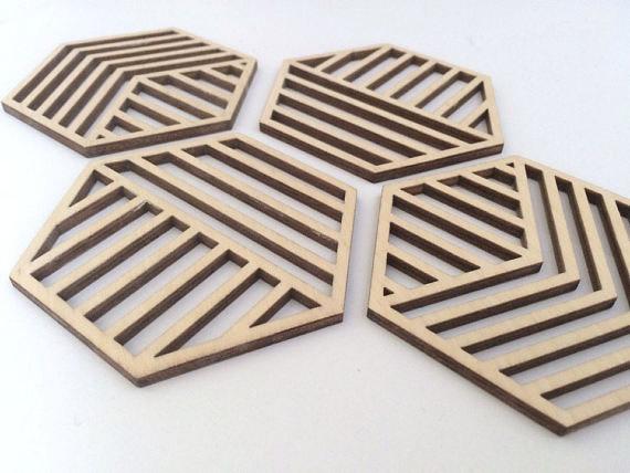 Geometric Wooden Coasters Hexagonal Wood Coaster Geometric Coasters Unique Coasters Wedding Gift Anniversary Gift Table Decor K Mats Pads Aliexpress