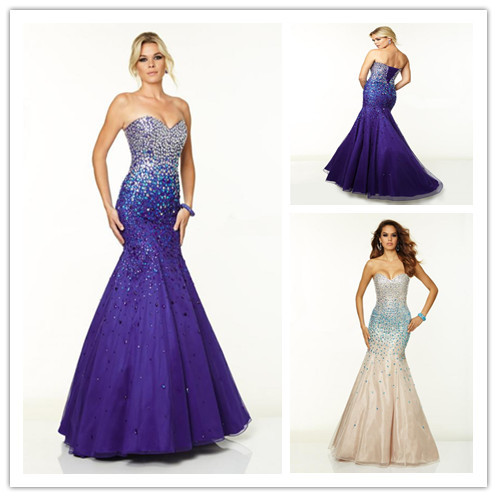 Purple Prom Gowns Trumpet Prom Dresses Long Formal Party Gowns ...