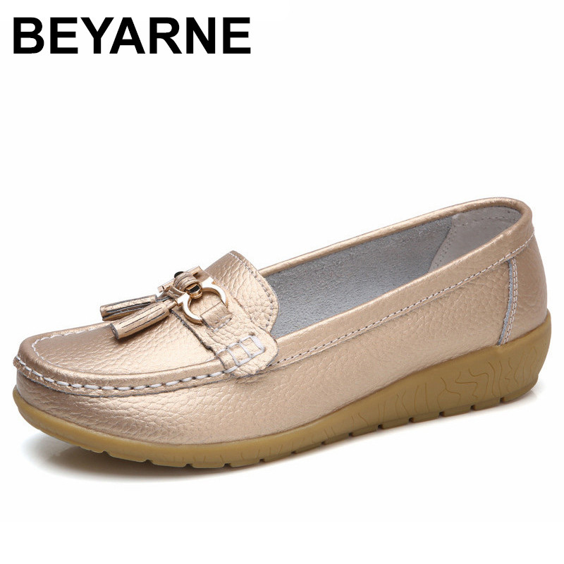 BEYARNE 2018 Spring Autumn Shoes Woman Cow Leather Flats Women Slip On Women's Loafers Female Moccasins Shoe Large Size 35-41 beyarne spring summer women moccasins slip on women flats vintage shoes large size womens shoes flat pointed toe ladies shoes
