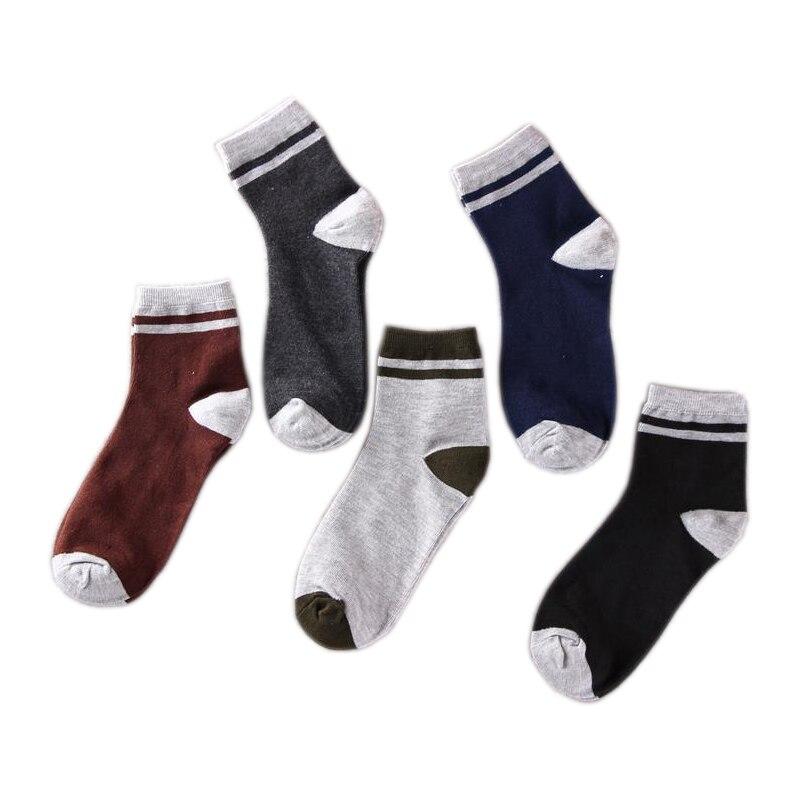 5 Pairs/ lot Mens Socks Brand Mens Socks Funny Cotton Stripes Business Casual Breathable Short Socks Male Dress Fashion