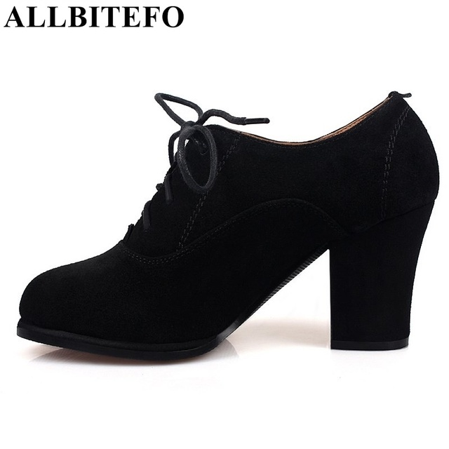 ALLBITEFO fashion retro genuine leather high heels platform women pumps 2017 new spring lace-up high heel shoes sapatos feminin