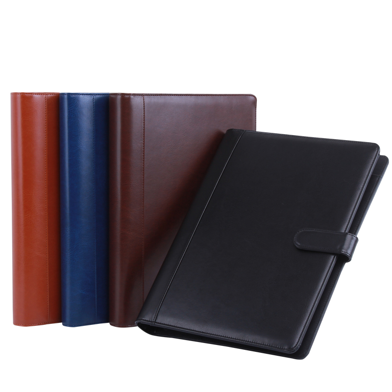 leather folder Padfolio multifunction organizer planner notebook ring binder A4 file folder with calculator office supply 1200