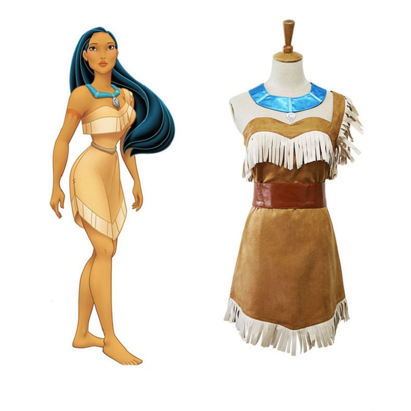 Indian Princess Pocahontas Cosplay Costume Halloween Costumes Girls Dress Outfits Women Dresses Uniforms