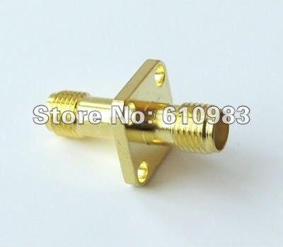 ba2633e4b Frete grátis (10 peças/lote) adaptador SMA sma Jack fêmea para fêmea painel  4 furos de montagem conector