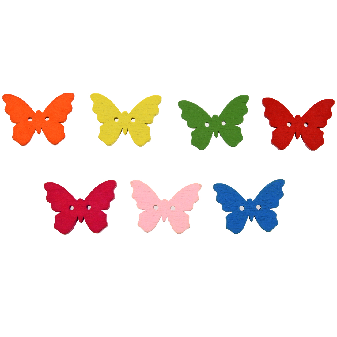 Pack of 50 Colorful 2 Holes Wooden Butterfly Buttons, for DIY, Sewing, Scrapbooking, Crafts, Jewellery making, shabby chic
