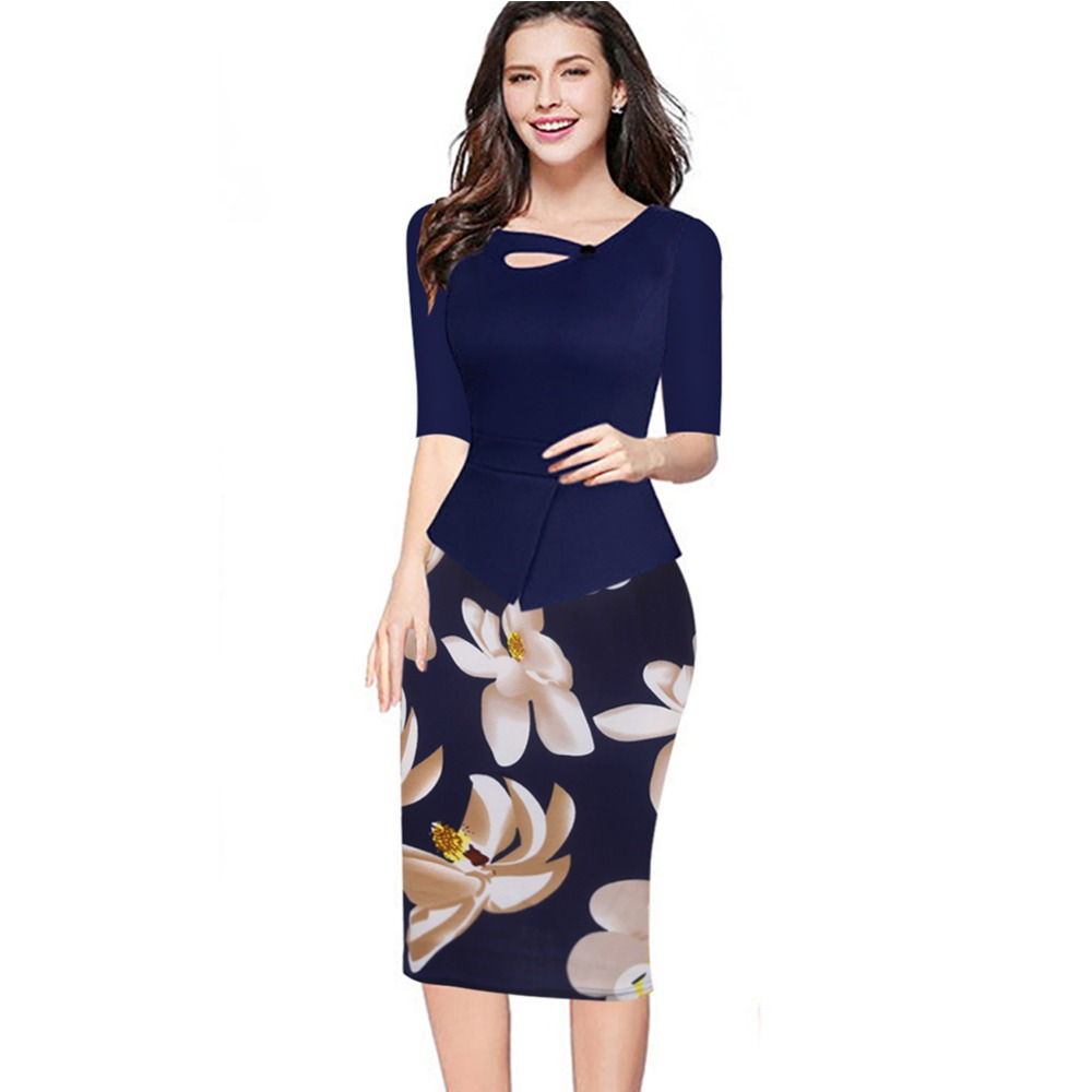 Print Sheath Dresses Half Sleeve Bodycon Office Working Pencil Dress ...