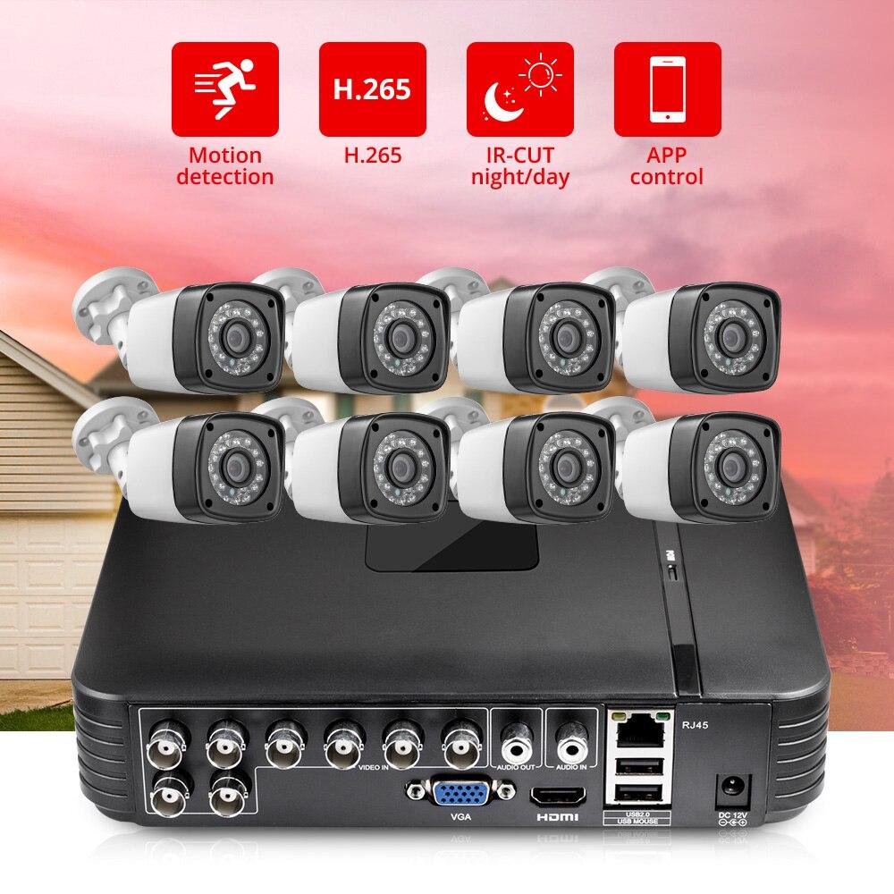 FUERS HD 4MP 1520P 8CH 6in1 H.265 AHD DVR Sistema de Vigilância de Vídeo Sistema de Câmera de Segurança Ao Ar Livre À Prova D' Água CCTV P2P kit HDMI