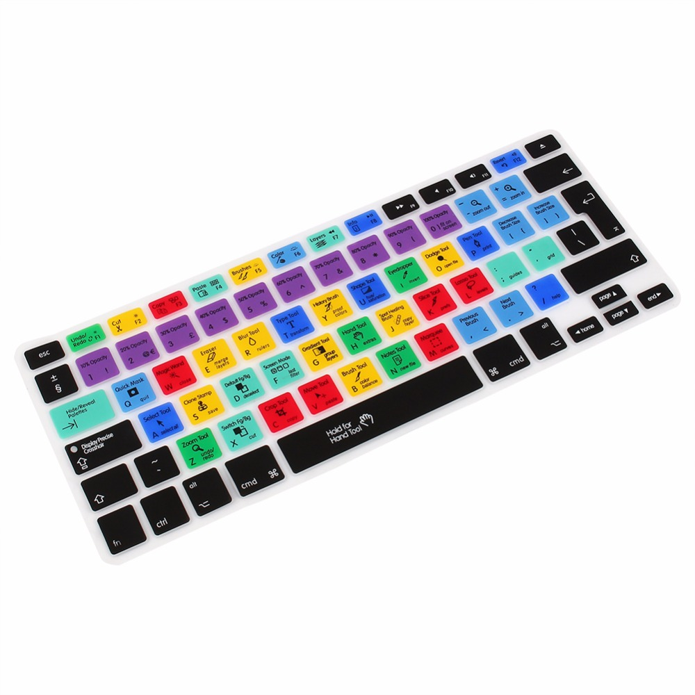 US/EU English Silicone Adobe Photoshop Shortcut Keys Keyboard Protector For Macbook Pro Air 13 15 17