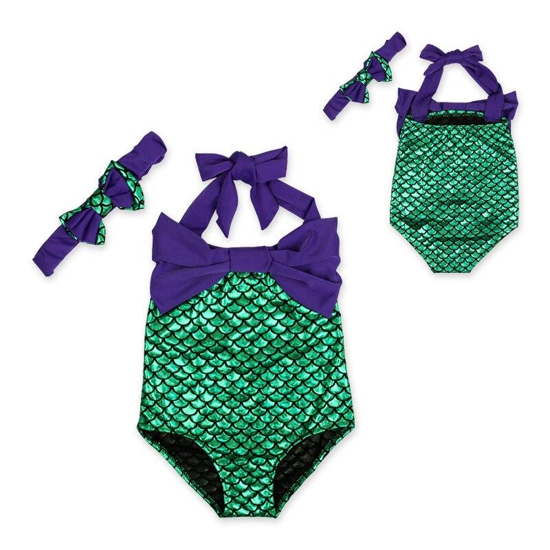 2 Style Baby Girl Mermaid Sequins Swimsuit Bow Romper Headband