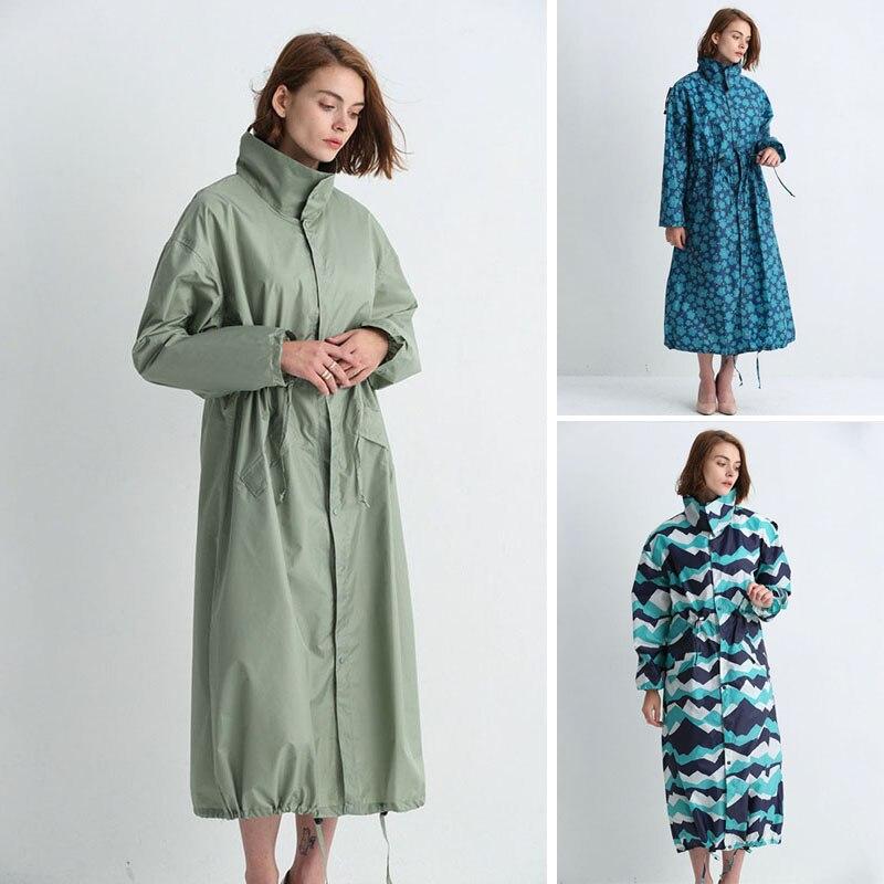 Women Raincoat Longer Section Hooded Long Rain Jacket Breathable Rain Coat Poncho Outdoor Rainwear Lady Raincoat