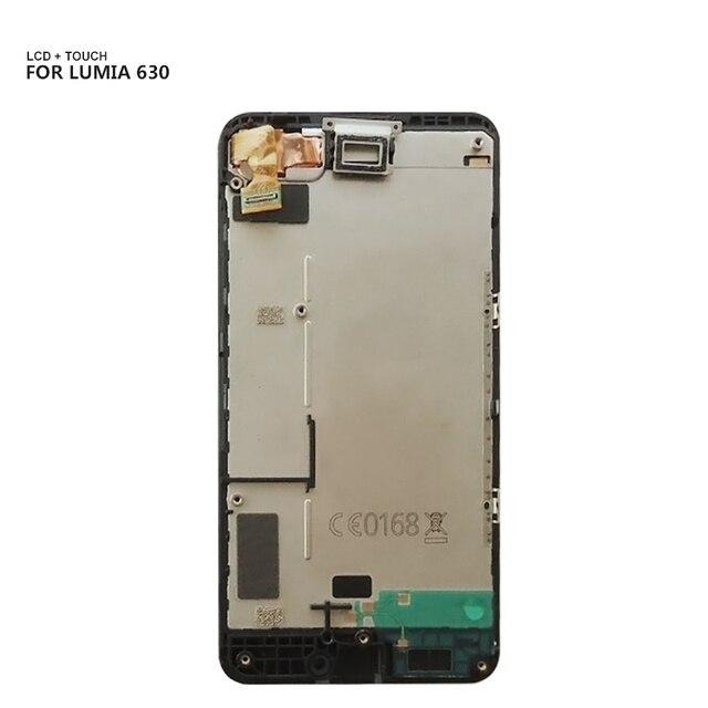 Prueba de 100% para Nokia Lumia 630 635 cristal Sensor de Digitalizador de pantalla táctil + montaje de módulo de pantalla de panel de pantalla LCD con marco