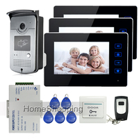 Wired 7 Touch Screen Video Door Phone Intercom System 3 Monitors Waterproof RFID Access Camera 12V