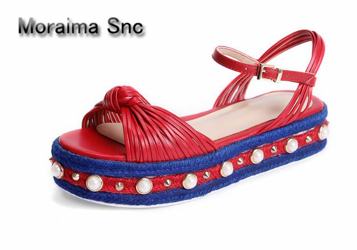 Moraima Snc Brand design women sandals Thick bottom Rivets and pearls decor wedges ladies sandals platform high heels shoes stylish women s sandals with rivets and color block design