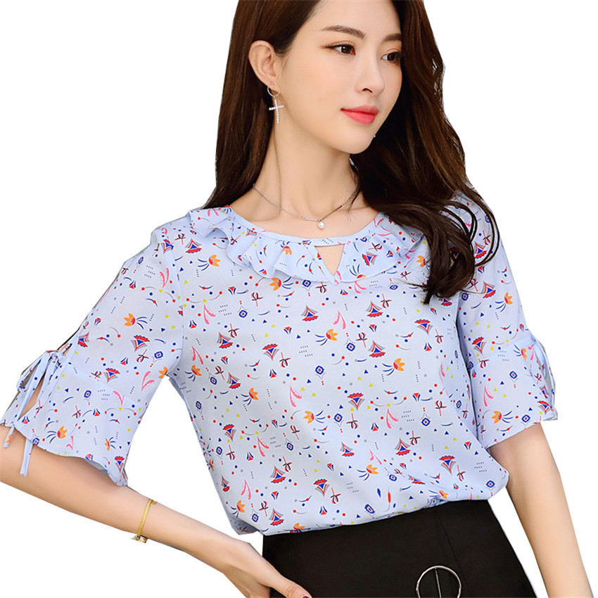 2018 New Fashion Summer Big Size Women O-Neck Print Chiffon Blouses Spring  All-match Lady Short Sleeve Blusas Tops pullover 413