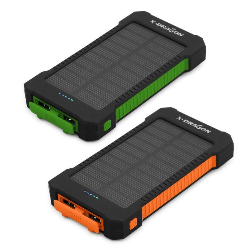 10000 mAh Solar Power Bank Batería Externa de la Emergencia para el Teléfono Móv