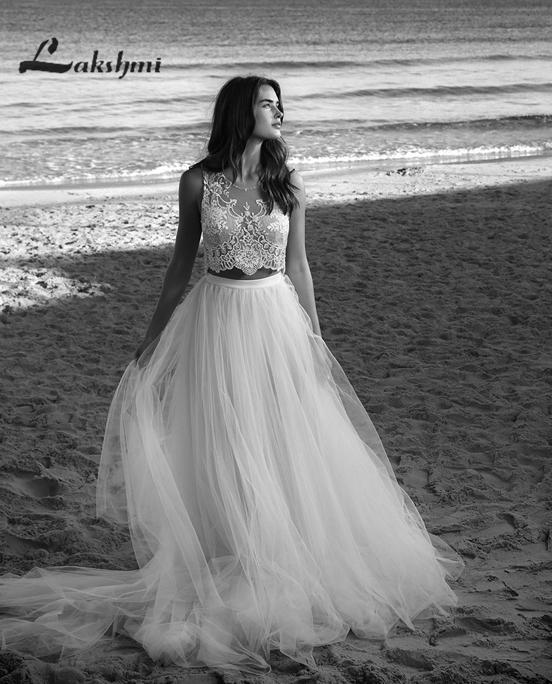Exquisite Two Piece Bohemian font b Wedding b font font b Dresses b font A line