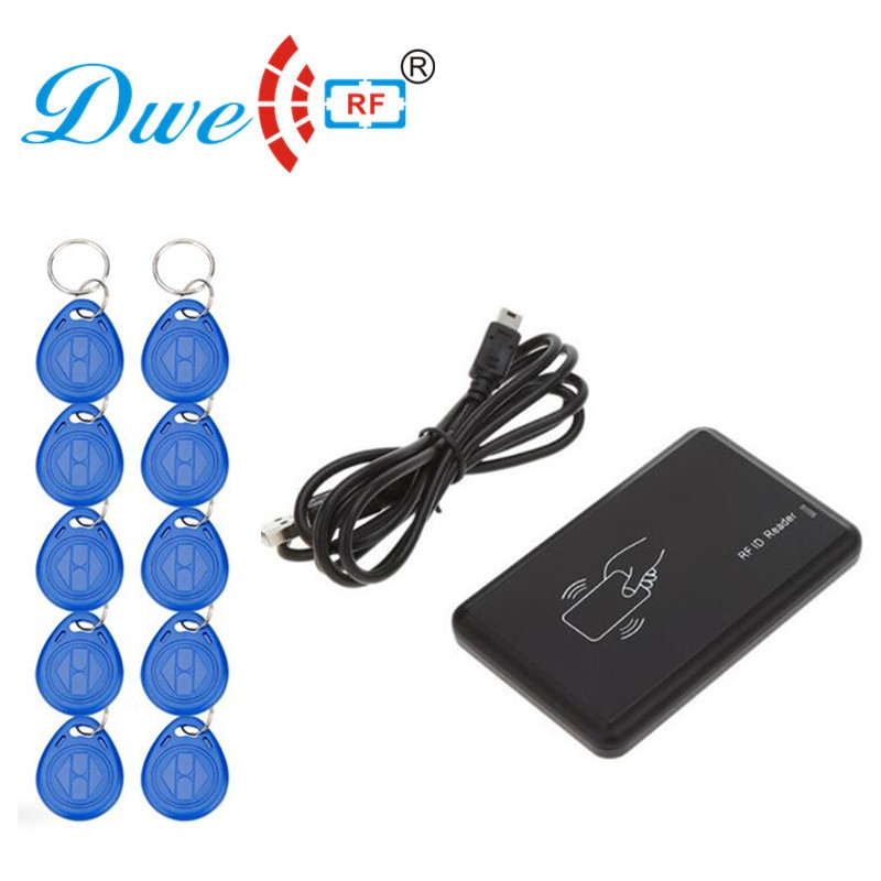 DWE CC RF rf card 125khz rfid reader writer copier duplicator cloner usb card programmer with 10 em4305 keyfob free цена