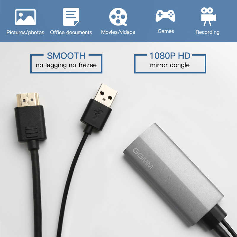GGMM HDMI Dongle TV Stick HD TV Cable for Apple USB Screen Mirroring 1080P  HD TV Box for iphone 6s plus iphone7 7plus ipad etc