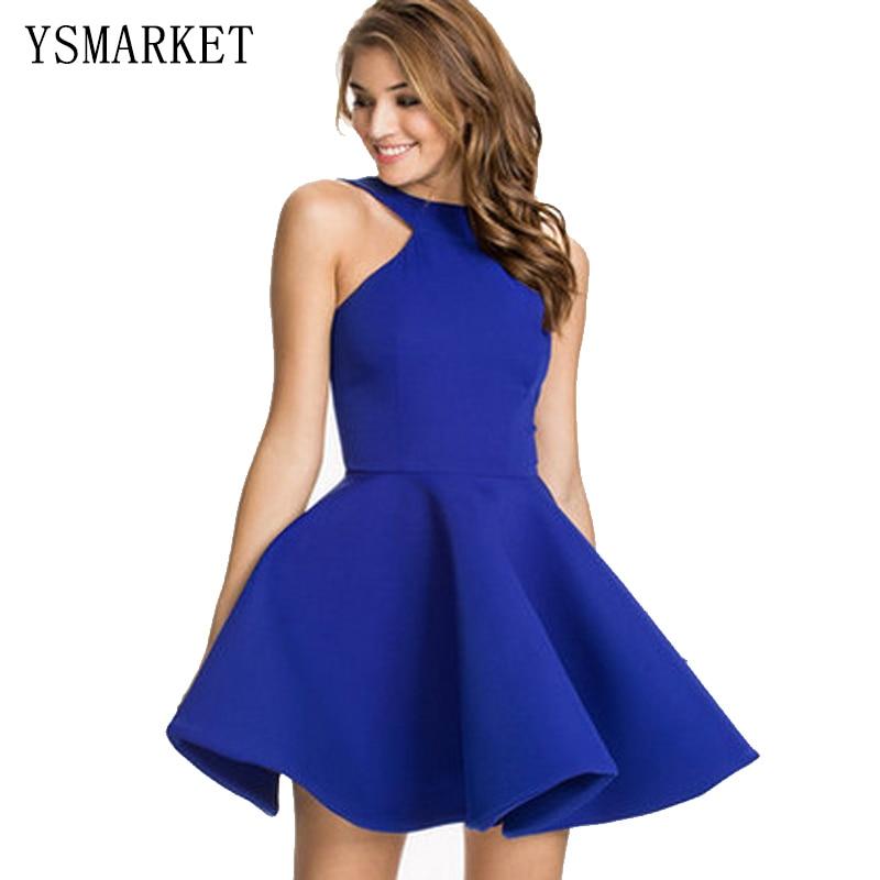 Royal blue orange white black mini short puffy dress for prom women girls cute summer plus size backless flared party dress H522