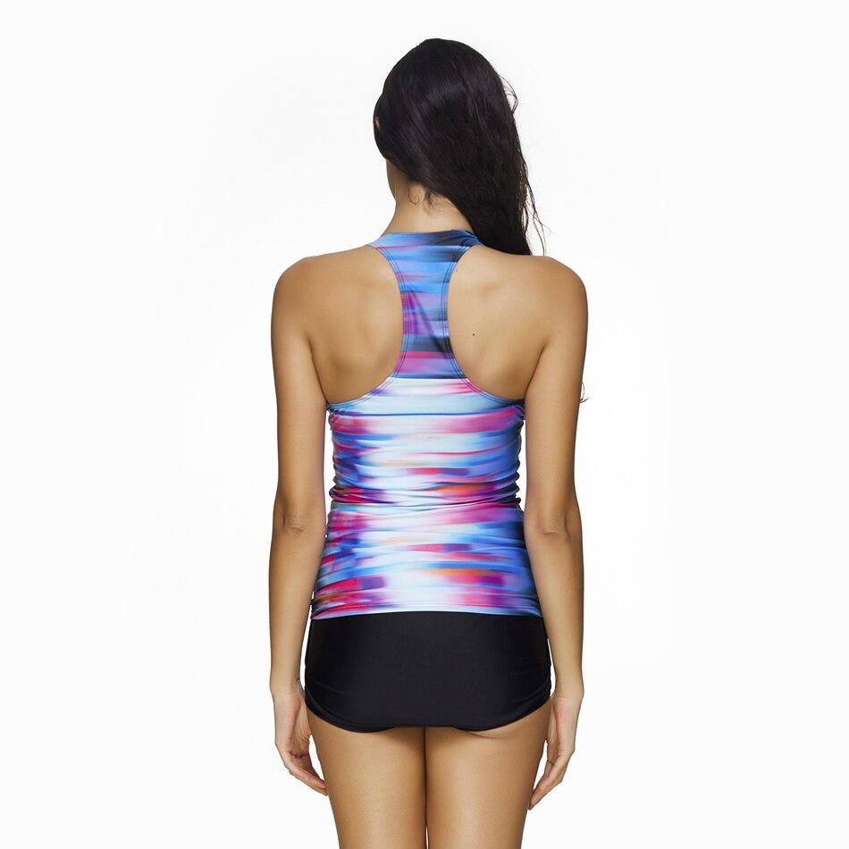 b9b7399af4 Plus Size Sexy Women Swimsuit Swimwear Tankini Top Shorts Set Print Bathing  Suit Beachwear Blue Gradient Beach Cover Up 2 pieces