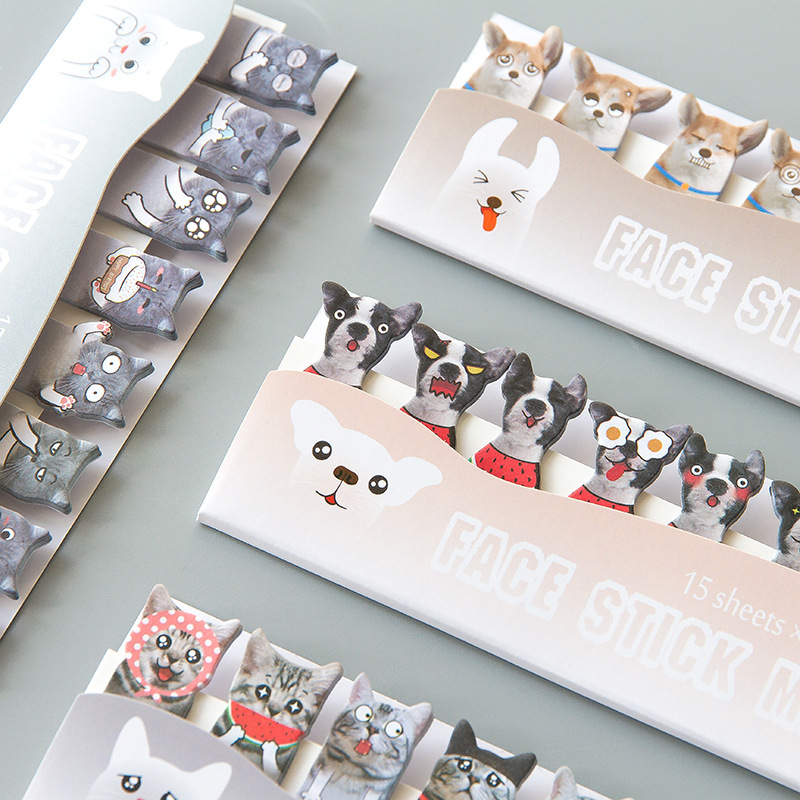 Japanese Style Cat Dog 3D Self-Adhesive N Times Memo Pad Sticky Notes Bookmark School Office Supply