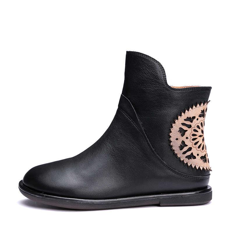 Cắt Ra Hoa Thiết Kế Nữ Boot Da Tự Nhiên Nữ Mắt Cá Chân Giày Thủ Công Họa Tiết Hoa Nữ Giày Mềm Mại Tươi