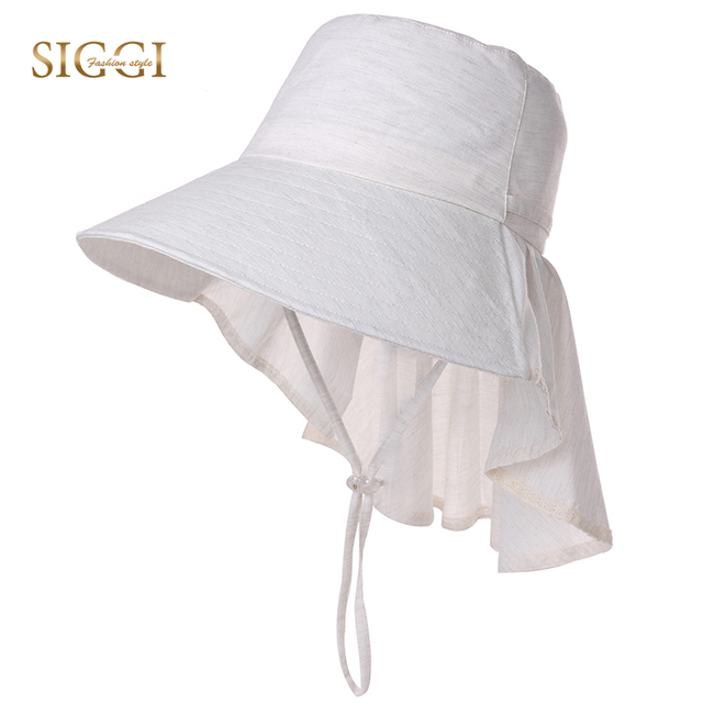 23297ff2a8e SIGGI Summer Vintage Bucket Hats For Women Solid Ponytail Adjustable  Windproof Chin Cord Detachable UPF50+ UV Female 99035
