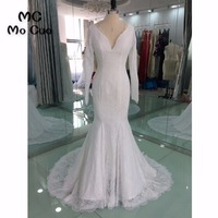 Real Sample 2018 Mermaid Wedding Dresses Long Sleeves Bridal Gowns Appliques Backless vestido de noiva Wedding Dress 100% Real