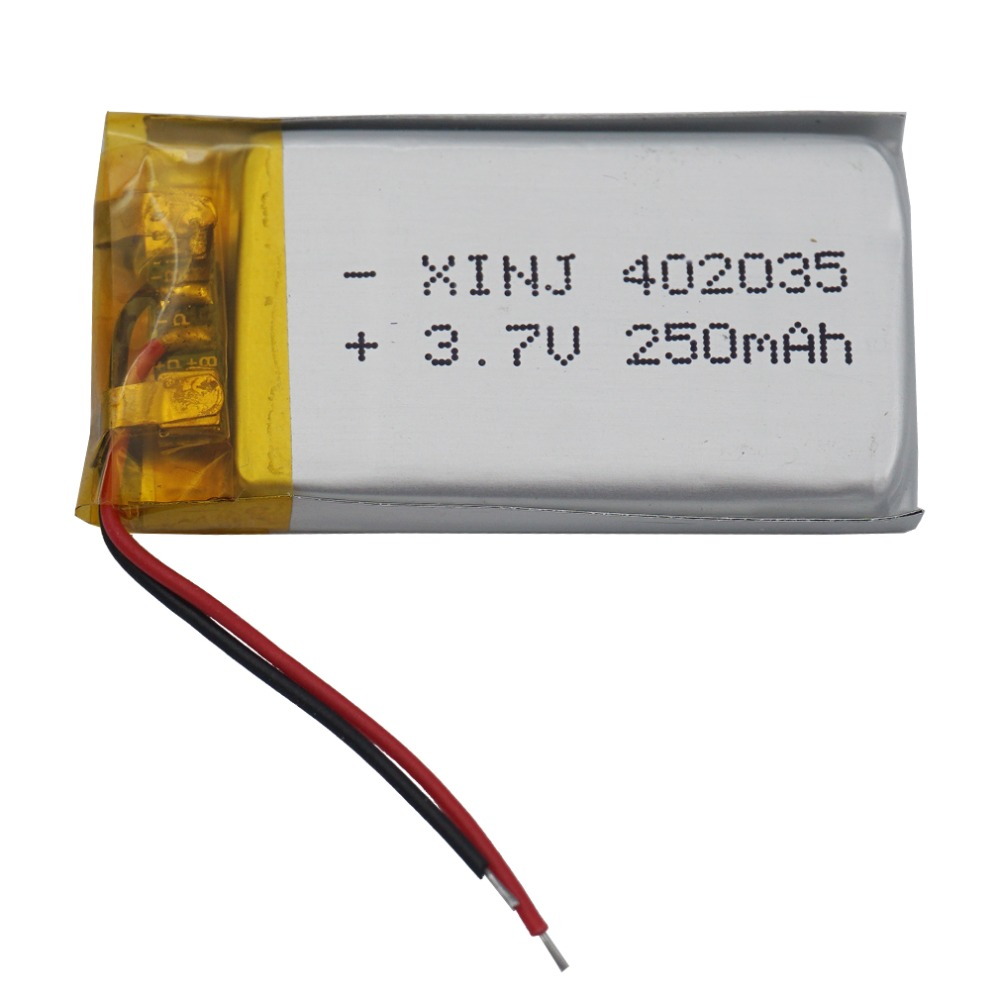 XINJ <font><b>3.7V</b></font> 250mAh Lithium Polymer Rechargeable <font><b>Battery</b></font> Li ion li-po cell For MP3/MP4 E-book Driving recorder DIY Tablet PC <font><b>402035</b></font> image