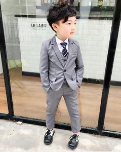Image 3 - Czerwony/szary 3 sztuk czarny berbeć chłopcy garnitury ślubne formalne dzieci garniturowy blezer Tuxedo ubrania imprezowe kurtka + kamizelka + spodnie