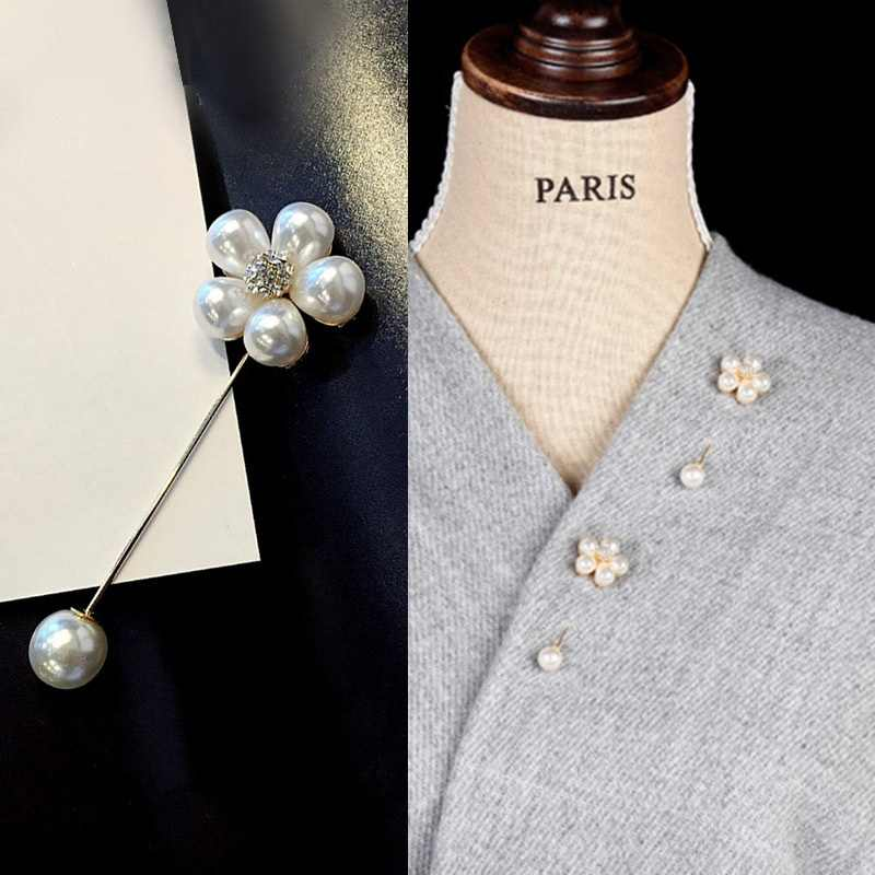 Korea Retro Bros Sederhana Fashion Kata Mutiara Pin Wanita Bunga Shirt Sweater Pin Bros Cardigan Syal Sutra Gesper Pin