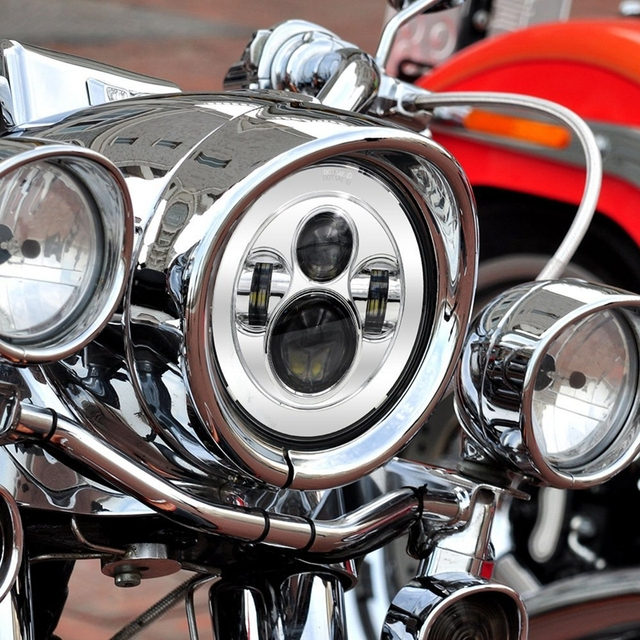 """1pcs 7"""" Round Harley LED Projection Daymaker Headlight for Harley Davidson Motorcycles"""