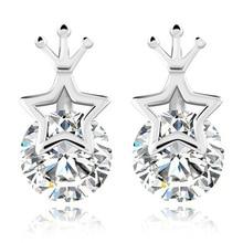 цена 100% 925 sterling silver fashion shiny crystal crown ladies`stud earrings jewelry women Anti allergy birthday gift drop shipping в интернет-магазинах
